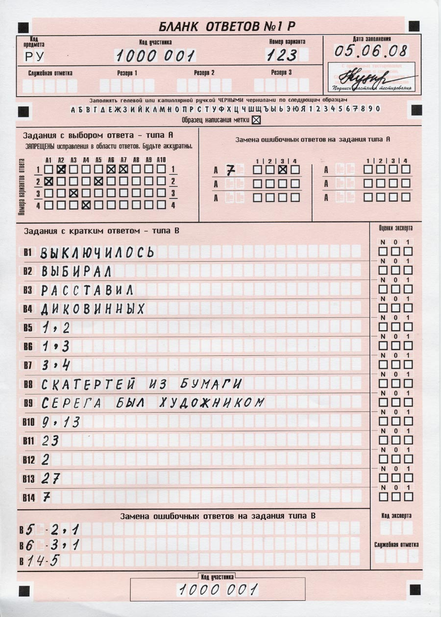образец бланка по русскому гиа